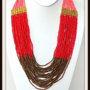 Czech Seed Bead Coral, Red, Brown Necklace